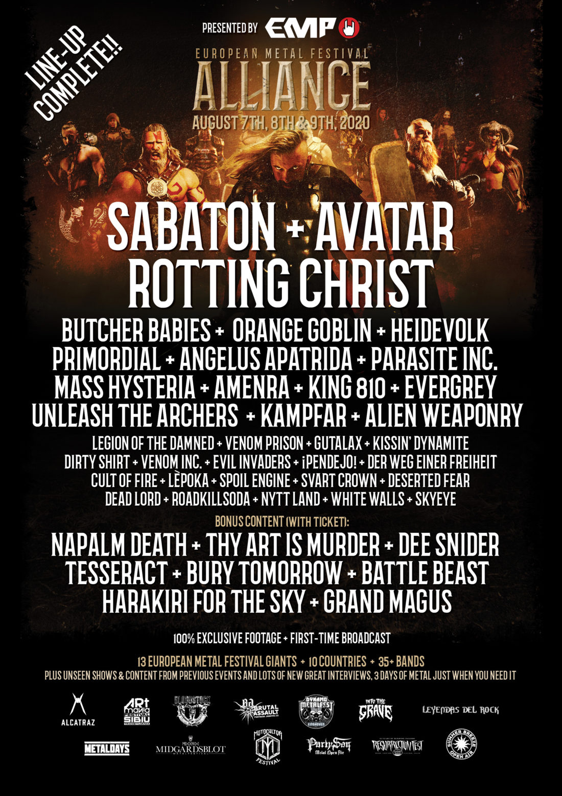 Cartel final de la European Metal Festival Alliance