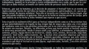 OFFICIAL STATEMENT FROM RESURRECTION FEST ESTRELLA GALICIA ABOUT THE CURRENT SITUATION