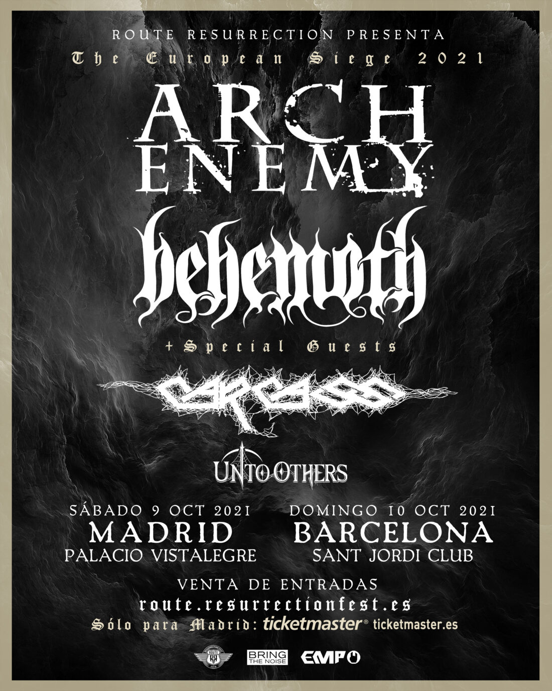 Arch Enemy + Behemoth con Carcass