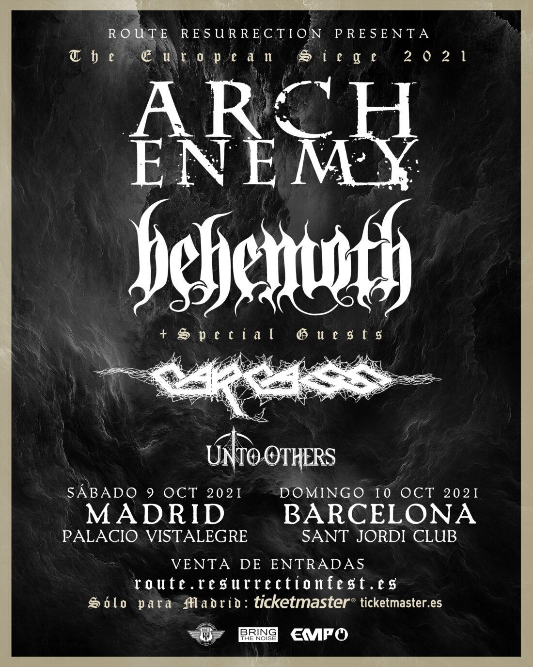 La gira definitiva de metal extremo de Route Resurrection traerá a Arch Enemy y Behemoth como cabezas de cartel y los legendarios Carcass como invitados especiales