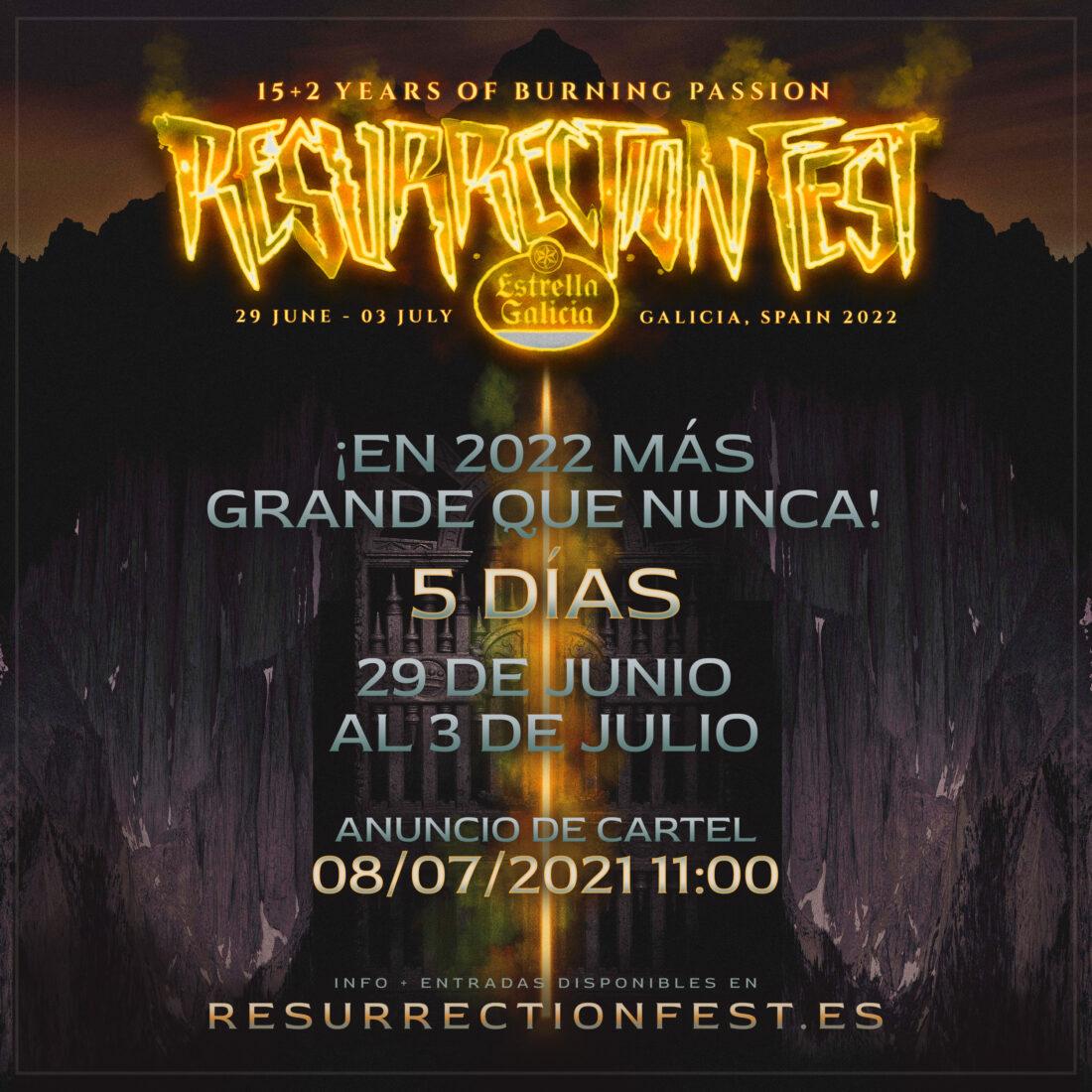 El Resurrection Fest Estrella Galicia 2022 tendrá 5 días: del 29 de junio al 3 de julio