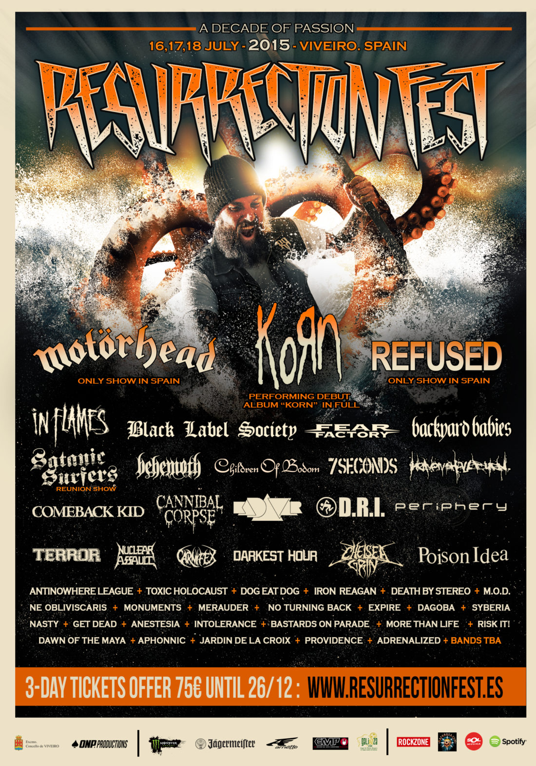 New bands for RESURRECTION FEST 2015: KoRn, Refused and many more