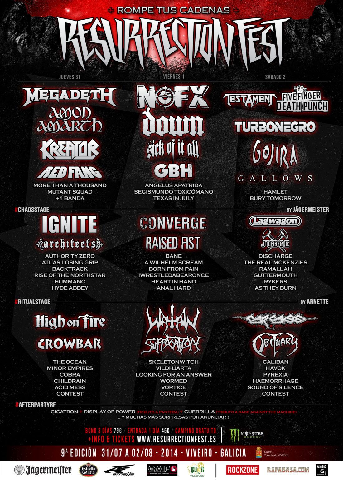 Cartel del Resurrection Fest 2014 por días y nuevas bandas