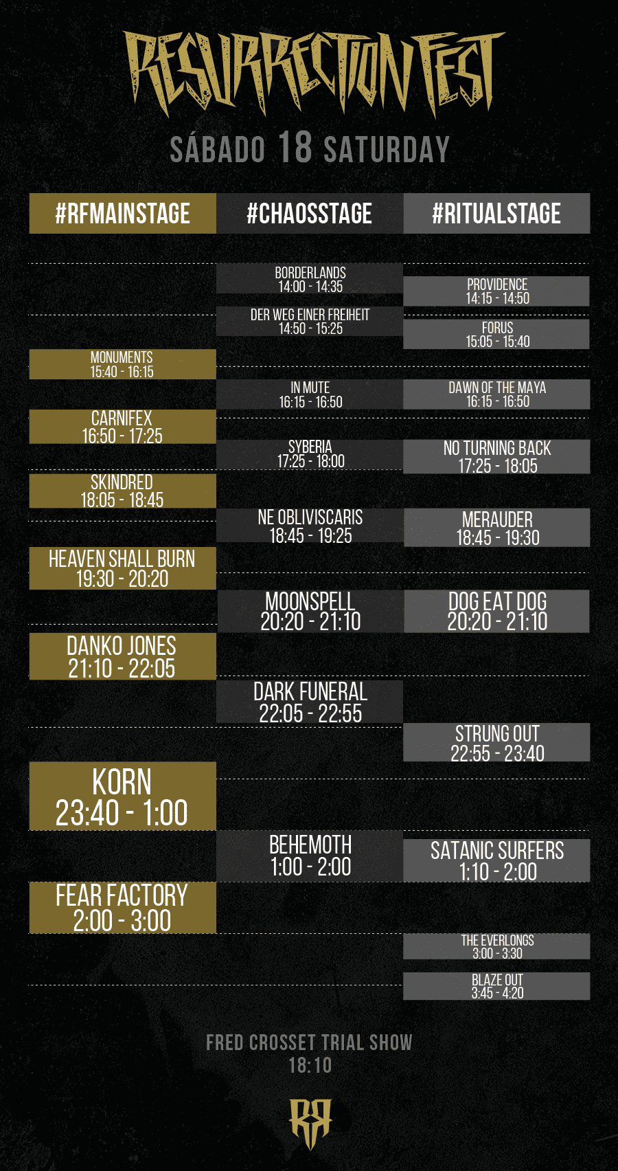 Resurrection Fest 2015 - Running Order - 18