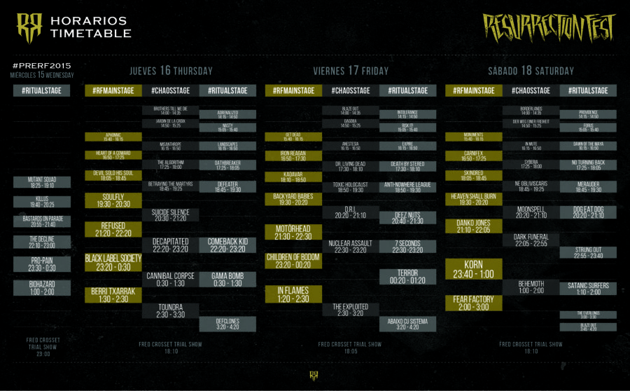 Resurrection Fest 2015 - Running Order