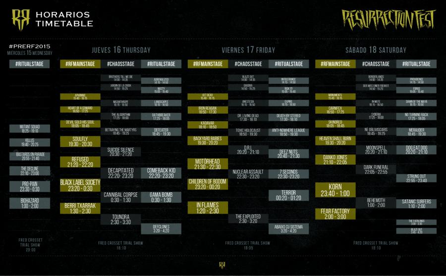 Resurrection Fest 2015 - Running Order