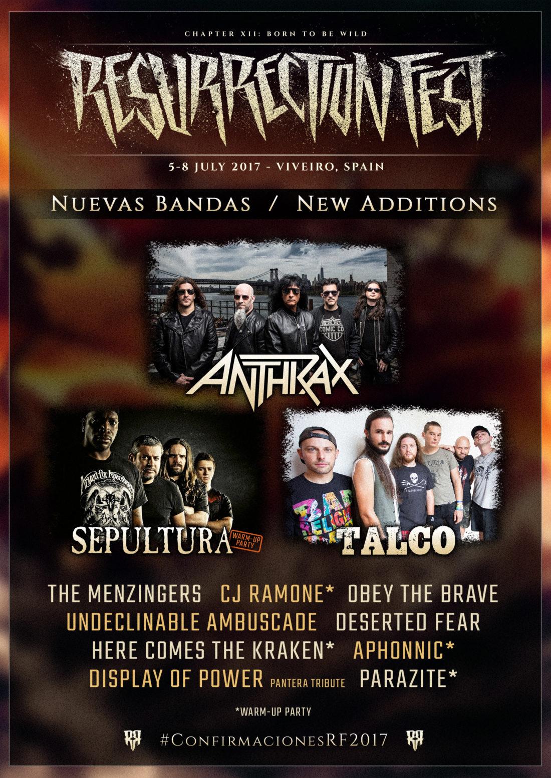 Anthrax, Sepultura, Talco y muchos más se unen al Resurrection Fest 2017