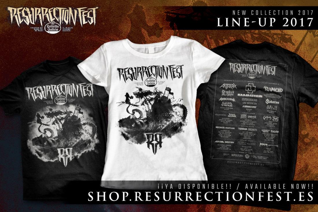 """Camiseta """"Lineup"""" co deseño do cartel do Resurrection Fest 2017 á venda"""