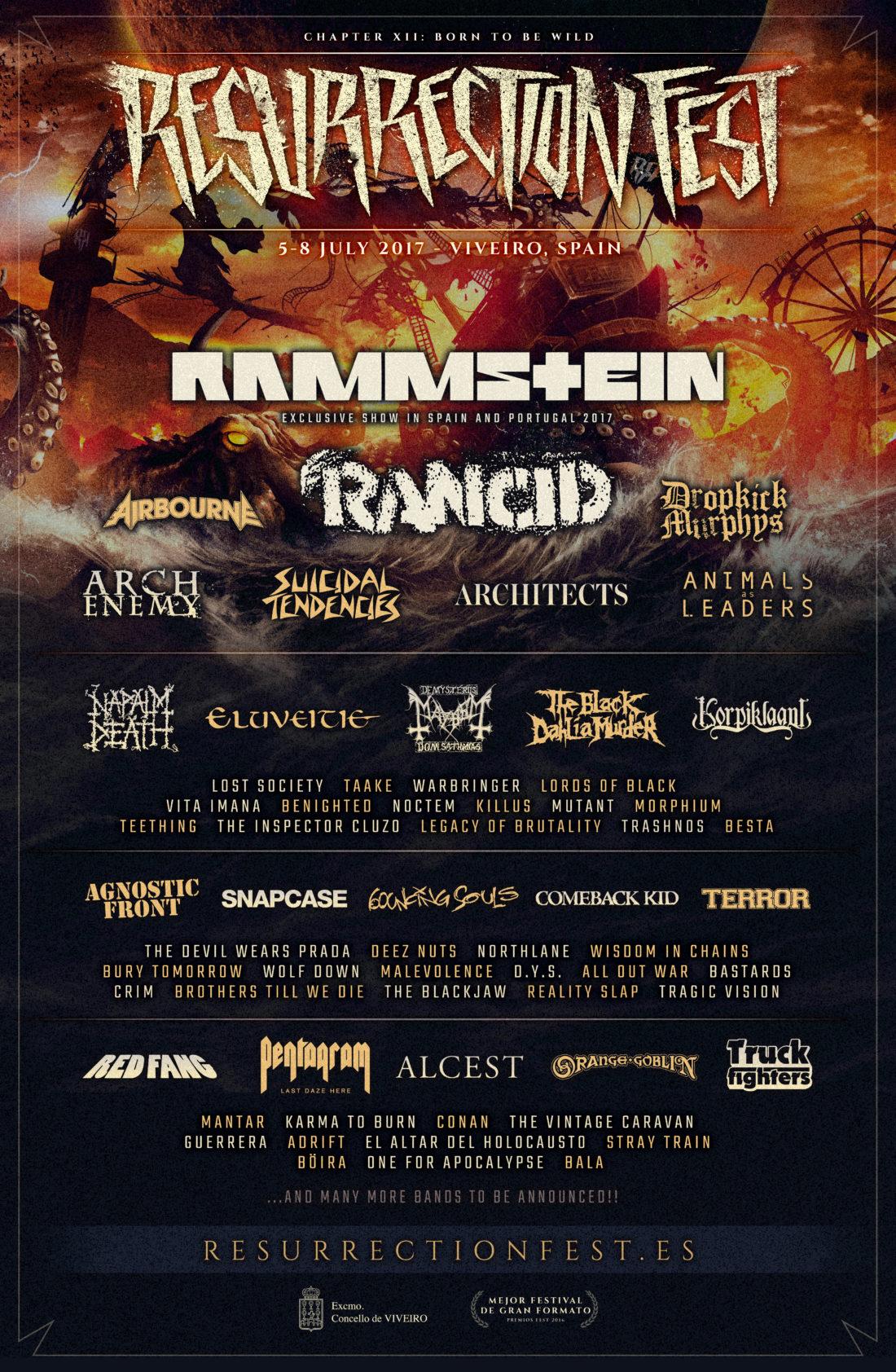 Rammstein y Rancid, cabezas de cartel del Resurrection Fest 2017
