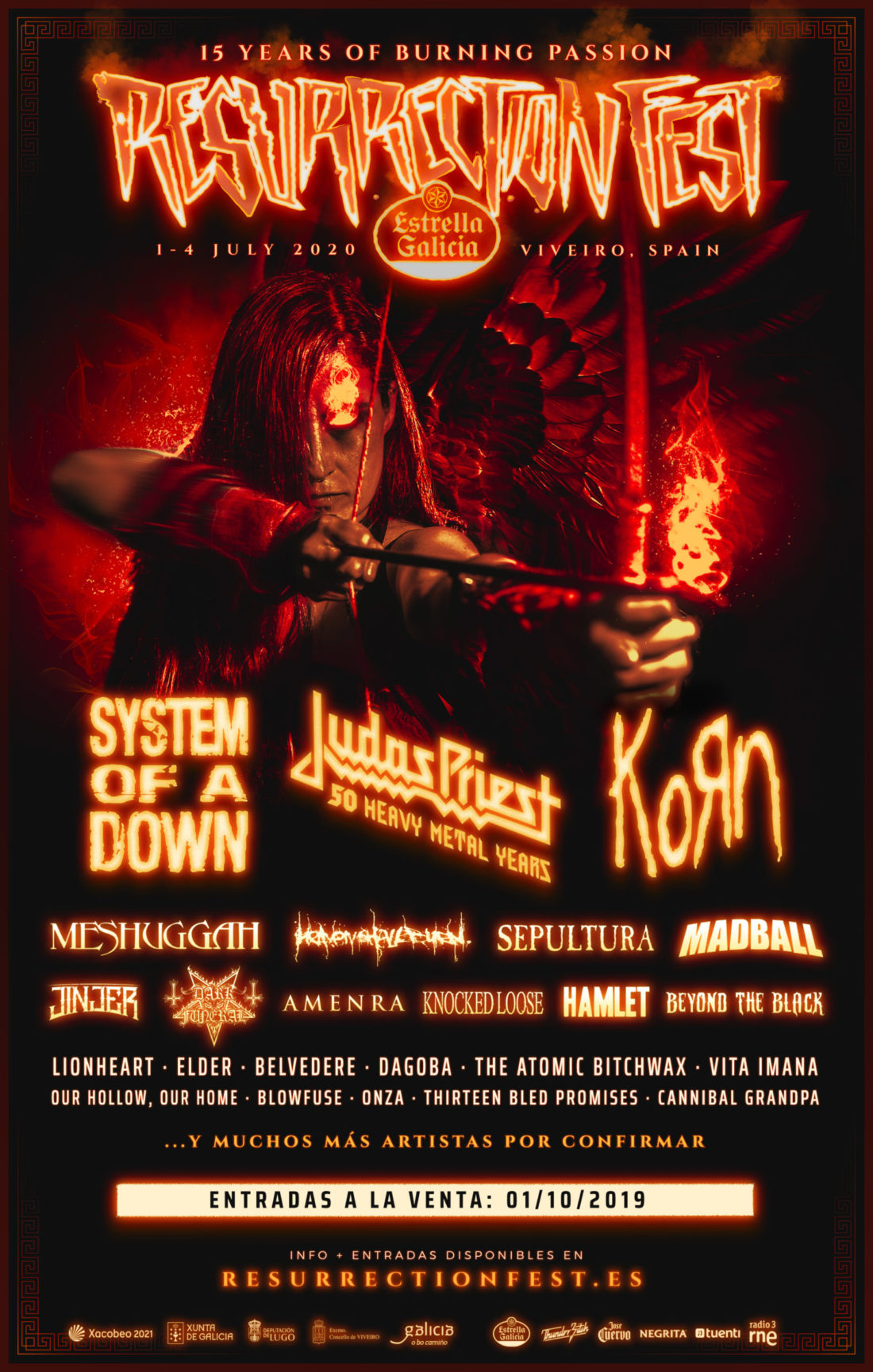 Judas Priest and KoRn join Resurrection Fest Estrella Galicia 2020 as headliners along with many more bands