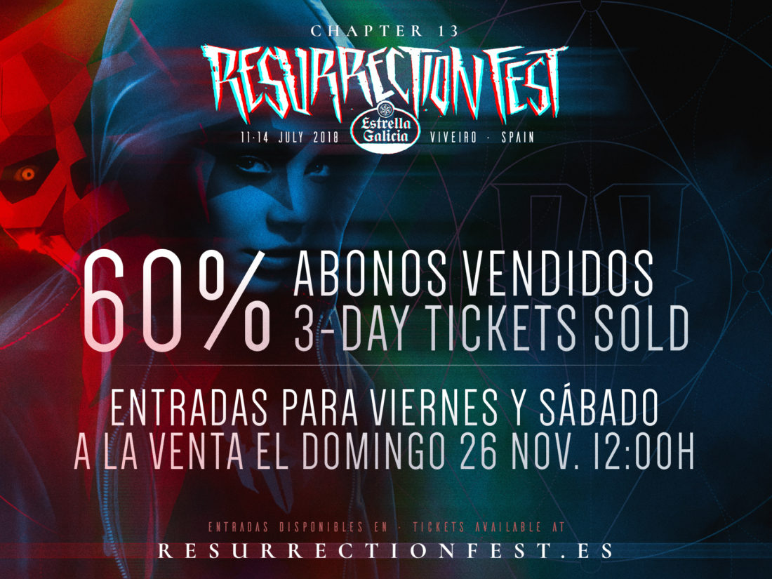60% 3-day tickets for Resurrection Fest Estrella Galicia 2018 sold and tickets for Friday and Saturday on sale