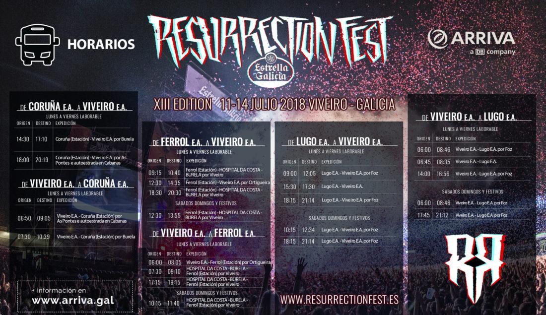 Horarios de los buses de Arriva hacia el Resurrection Fest Estrella Galicia 2018