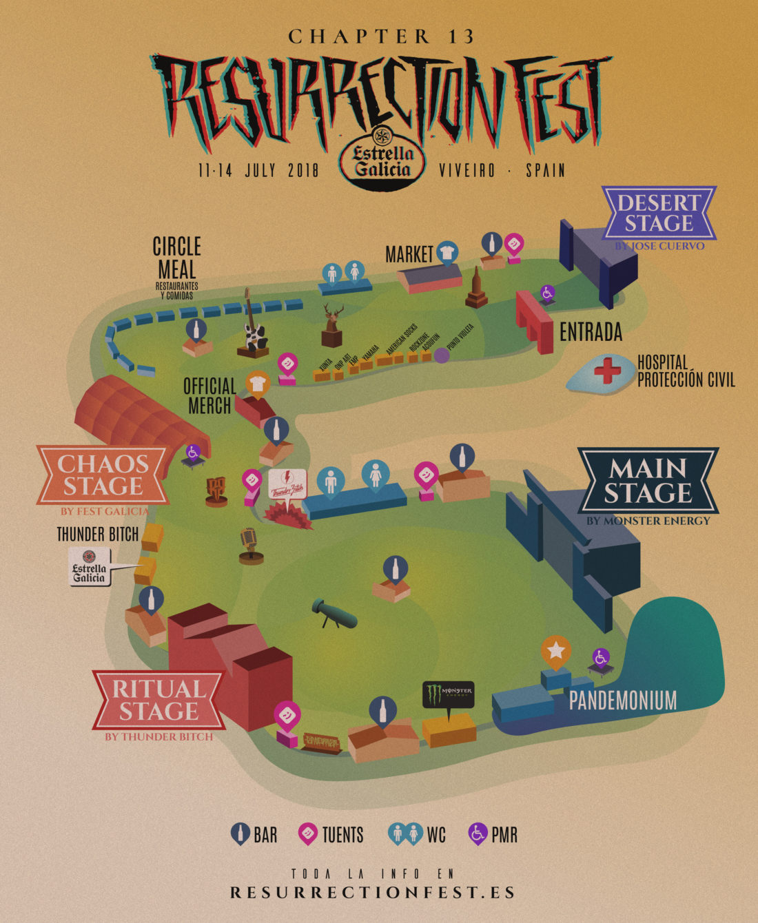Mapa de la Resurrection Fest City 2018