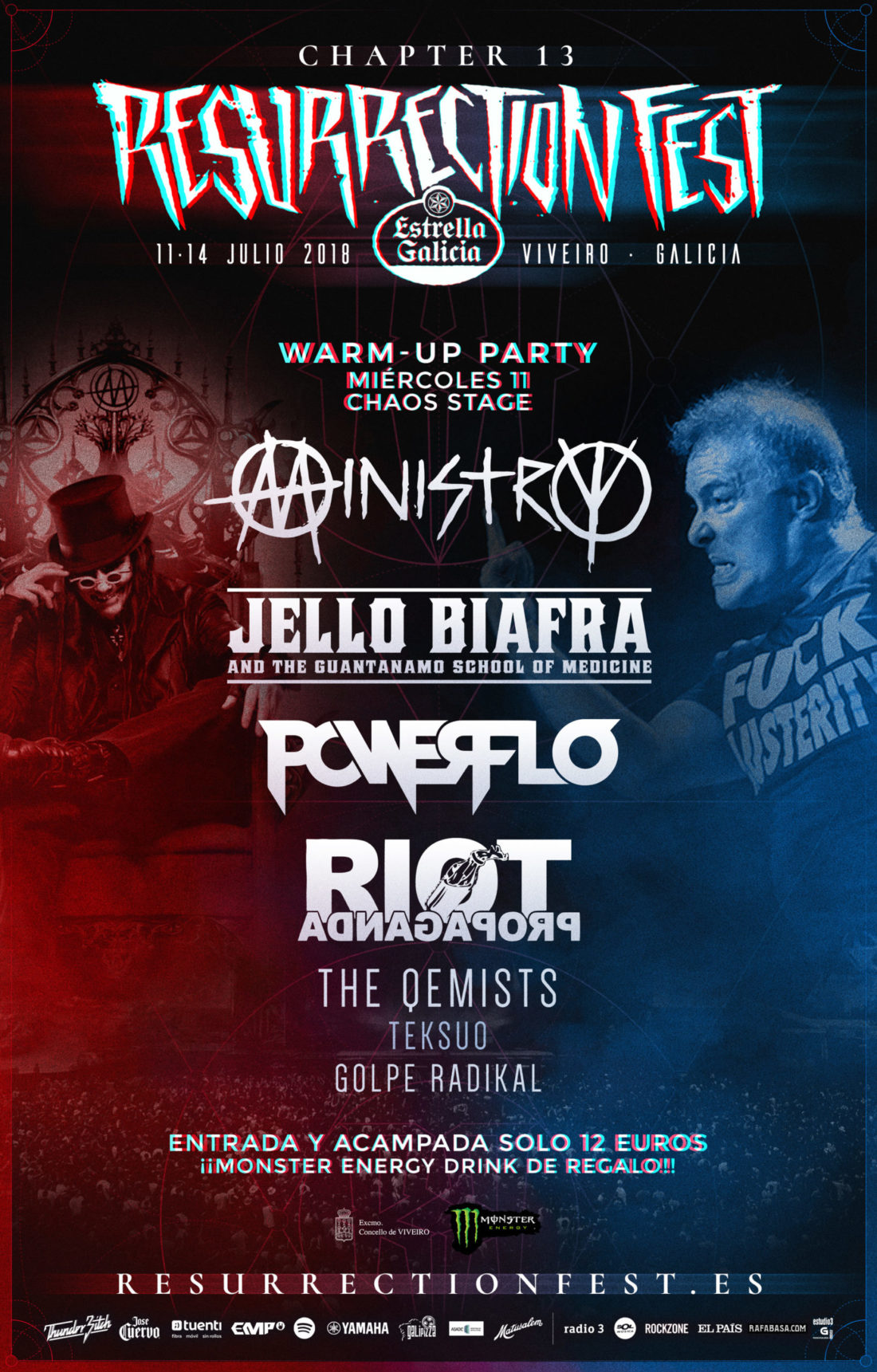 Official poster for Warm-up Party of Resurrection Fest Estrella Galicia 2018